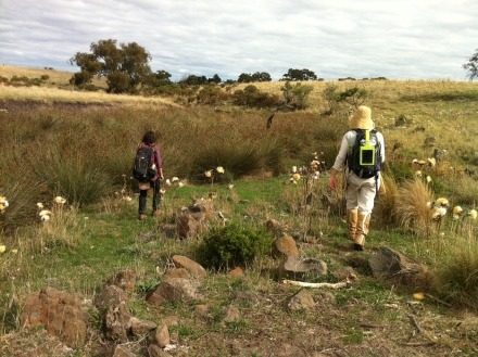 Walking the Merri: From Source to Confluence Day 5 (Anna Topalidou and Rebecca Mayo) Photo credit: Lesley Harding